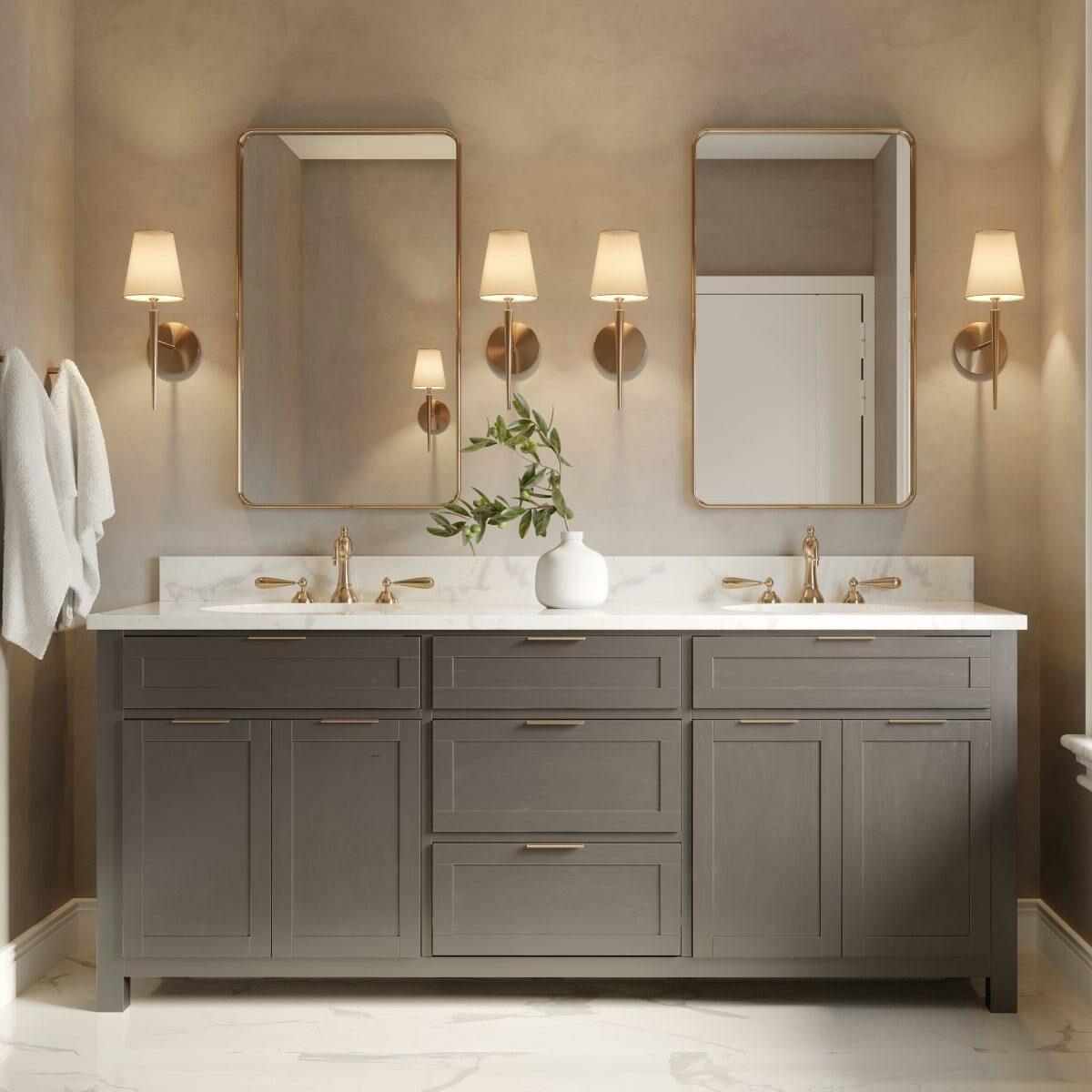 Bathroom Grey Vanity Dual Sinks Square, Paneling Factory Of Virginia