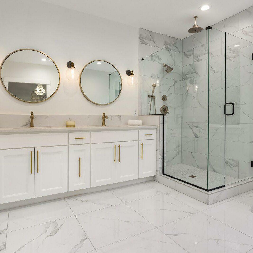 WhiteThememed Bathroom DualVanity Square, Paneling Factory Of Virginia